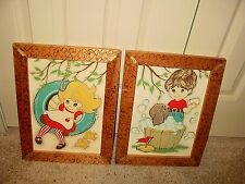 VTG Rare HTF Big Eyed Kids Children 70's Mid Century Americana Paint By Number