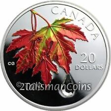 Canada 2009 Autumn Swarovski Crystal Raindrop $20 Pure Silver Maple Leaf Color