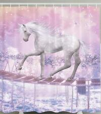 MYTHICAL UNICORN WHITE HORSE CROSSING WOODEN BRIDGE BUTTERFLIES Shower Curtain