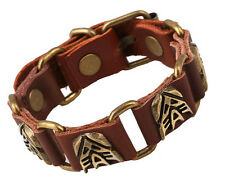 Brown - 1pc Punk Retro Transformer Belt Style Real Leather Unisex Cuff Bracelet