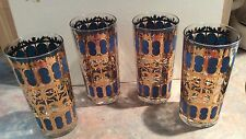 Vintage Culver Blue 22Kt Gold Scroll Drinking Cocktail Glasses Set of 4