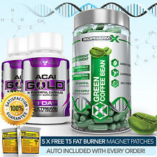 GREEN Coffee bean estratto + 2 Acai Gold-più FORTE Slimming / Diet + Detox Pillole