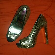 DUNE HEAD OVER HEELS V HIGH PLATFORM GOLD GLITTER PEEP TOE SHOES fit 5 - 5.5 /38