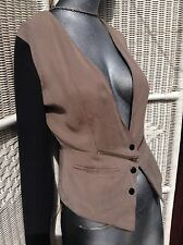 TopShop Brown With Black Sleeves Fitted Gold Zip Tuxedo Western Hip Ladies Top 8