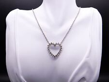 14k White Gold 2ct Round Diamond Heart Love Cluster Pendant Necklace 18 inch