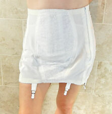 RAGO CLASSIC VINTAGE SEXY PLUS SIZED WHITE OPEN BOTTOM GIRDLE 6 GARTERS 40 NWOT