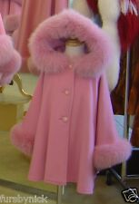 Children's Pink Cashmere Hooded Coat With Fox Fur Trim - Beautifully Canadian