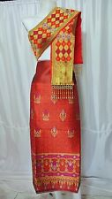 Red Gold Lao Laos Synthetic Silk Fabric Glue for sinh Pha Bieng Beads LPG56