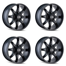 "4 17"" 6 Lug Ion 181 Wheels Black Milled Fits Lifted Ford Chevy GMC Trucks 6x5.5"