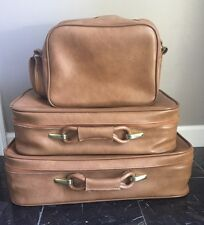 Nice Vintage 3 Piece Brown Leather Luggage Set W/ Keys Never Used