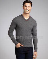 GUCCI MENS SWEATER GREY DIAMANTE WOOL V-NECK JUMPER WEB DETAIL XL EXTRA LARGE