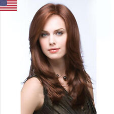 Lady Middle Long Cropped Straight Hair Full head Wig Cosplay Natural Hair Wigs