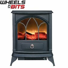 NEW 1.8KW Portable Electric Fireplace Stove Heater Realistic Flame & Logs Black
