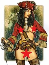 "Female Pirate Pinup Girl Costume Sword Pistol Bandana Tattoo Art Poster 8""x12"""