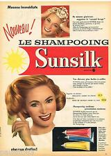 PUBLICITE ADVERTISING 095  1957 SUNSILK  le nouveau shampoing