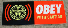 SHEPARD FAIREY Obey Giant Sticker 1.5 X 4 WITH CAUTION BANNER like poster print