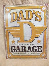 Dad's Garage Tin Metal Sign Decor FUNNY HUMOROUS Daddy Father NEW