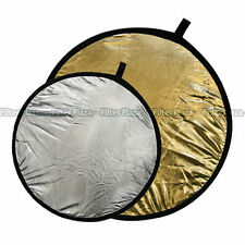 "110cm 43"" 2 in 1 Light Multi Collapsible Photo Reflector Board Disc Silver Gold"