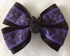 "Girls Hair Bow 4"" Wide The Haunted Mansion Purple Black Minnie French Barrette"