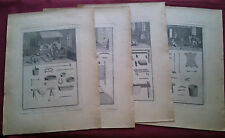RARE ANTIQUE PORTUGAL TANNERY FACTORY EQUIPMENT INSTRUMENTS SET OF 4 PRINTS