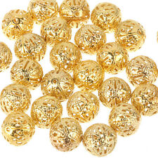 150pcs Crafts Round Filigree Spacer Beads Gold Plated For Handmade 6mm