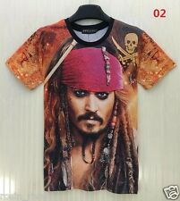 Captain Jack Sparrow T-shirt Pirates of Caribbean Johnny Depp Large Size T Shirt
