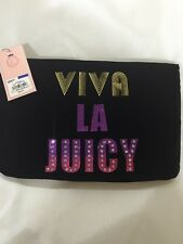 JUICY COUTURE Viva LA JUICY Black Velour Wristlet Clutch Bag. NWT. Lower Price