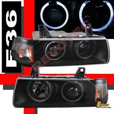 92-98 BMW E36 3 Series 318i 325i 328i 4DR Sedan Halo Projector Headlights Black