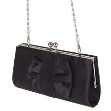 Clutch Tasche Handtasche Schwarz Satin Kisslock mit Kette Neuware 22x5x10 cm