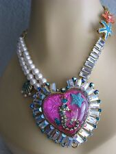 BETSEY JOHNSON JEWELS OF THE SEA SEAHORSE HEART STATEMENT NECKLACE~NWT~RARE
