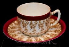 Royal Worcester Demitasse Miniature Cup Saucer Gold Pink/Red