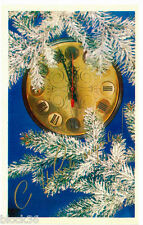 1976 Russian card HAPPY NEW YEAR: Clock, snow covered tree branch