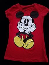 Disney Womens Mickey Mouse Top Short Sleeve Red T Shirt Size Medium Juniors Fit