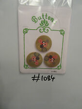 #1084 Lot of 3 Wooden Round Buttons