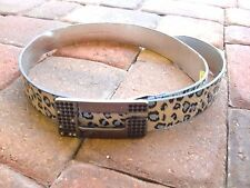 """GUESS""Animal Print Rhinestones Buckle  Leather Belt  buckle to first hole 42""XL"