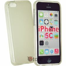 Cover Custodia Per iPhone 5C Silicone Gel Trasparente Retro Opaco + Pellicola
