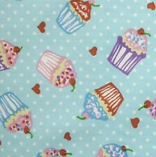 Blue 100% Cotton SML Cupcakes Hearts Polka Dot Fabric