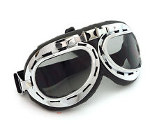 Aviator Style Motorcycle Goggles - Black - Chrome Frame - Smoke Lens - T01STB