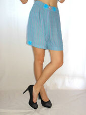 GULDNER Design Womens Vtg Blue Striped Embellish Cotton Casual Shorts sz S AE62