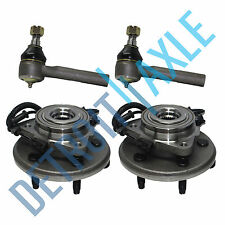 4pc Set: 2 FRONT Wheel Hub Bearing ABS 2WD 4X4  + 2 Outer Tie Rod Ford Lincoln