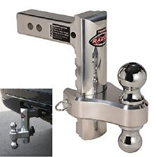 "Aluminum 8"" Drop Adjustable Hitch Tow Dual Ball Pin RV Trailer Receiver Truck"