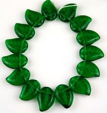 25 PCS Czech Leaf Green Pressed Loose Glass Beads Jewelry Craft Spacer 9x13mm