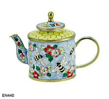 KELVIN CHEN Enamel Mini Copper Miniature Handpainted Teapot -  Bumble Bee Hive
