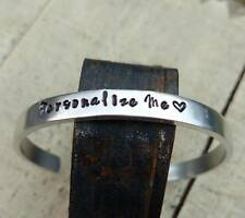 Hand stamped Custom You choose wording Personalization Cuff Bangle Bracelet