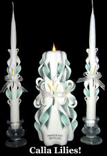 Set of 3 Calla Lily **YOUR COLORS** hand-carved wedding unity candles w/ names!
