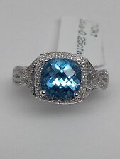 New 10K White Gold Swiss Blue Topaz and Pave Set Diamond Ring with Braided Band