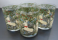 """4 Pc Cera Glass CGP8 Enchanted Forest Unicorn Double Old Fashioned Glasses 4 ¼"""""""