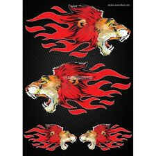 Stickers autocollants Moto casque réservoir  Flames Lion  Format A4 2504