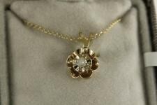 NOS Fine Estate Jewelry 10KT Yellow Gold Diamond Flower Pendant Necklace