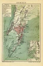 1901= BOMBAY = India =  ANTICA MAPPA = Old Map